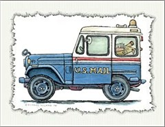 Jeep Notecards : Old Postal Jeep