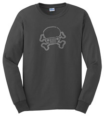 Closeout: XL Only, Jeep Skull & Crossbones LONG Sleeve Men's Tee, Dark Grey
