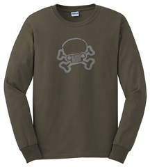 Closeout: 3XL Only, Jeep Skull & Crossbones LONG Sleeve Men's Tee, Olive