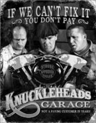 """""""Knucklehead Garage"""" Metal Wall Sign"""