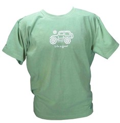 "CLOSEOUT (XL Only) - Life is Good ""Native Off-Road"" Men's Shirt  (Green Tee, White Ride)"