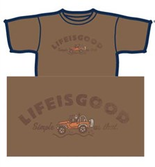 """CLOSEOUT - Life is Good """"Simple as that"""" Men's Short Sleeve Shirt , Light Brown"""