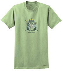 """CLOSEOUT - Life is Good """"Dog Gone Canoe"""" Short Sleeve Jeep Tee-Sprout Green"""