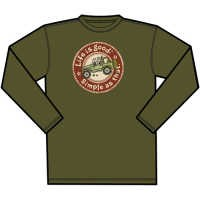 """CLOSEOUT (Large & 2XL Only) Life is Good Creamy """"Simple as that, Off Road"""" Men's Long Sleeve Shirt (Dark Green)"""