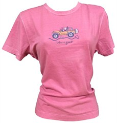 """CLOSEOUT (2XL Only) - Life is Good """"Off-Road"""" Women's Jeep Tee (Short Sleeve, Fuschia Pink)"""