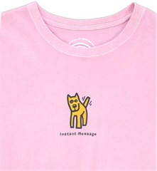 "Life is Good ""Instant Message / Rocket Wagging Tail"" Women's Pink Tee, Short Sleeve"