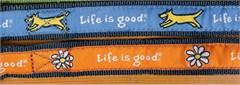 "Life is Good ""Good Dog"" Daisy Dog Collar, Orange"