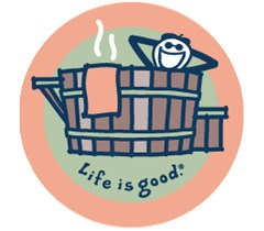 Life is Good Jake in Hot Tub Round Sticker