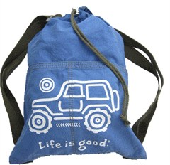 """CLOSEOUT - Life is Good """"Native Offroad"""" Cinch Sack (Jeep on Aqua Blue)"""