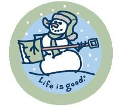 Life is Good Jammin' Snowman on Blue Round Sticker