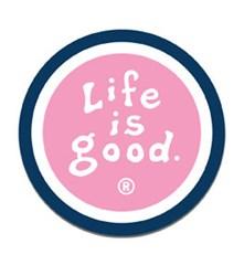 Life is Good Round Magnet, Fleur Pink