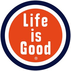 Life is Good Circle Car Magnet in Orange