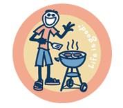 "Life is Good Jake BBQing Round 4"" Sticker"