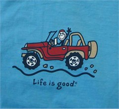"Life is Good Toddler ""Offroad Jeep"" Tee on Tropic Blue"