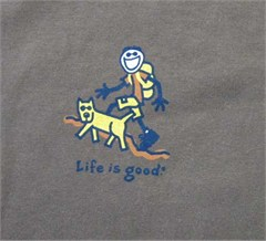 """Life is Good """"Happy Trails"""" Ladies T-shirt, Short Sleeve/Chocolate"""