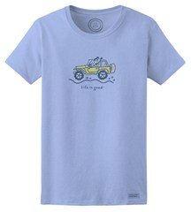 """CLOSEOUT - Life is Good Women's """"Jackie Offroad"""" Short Sleeve T-Shirt (Sky Blue)"""