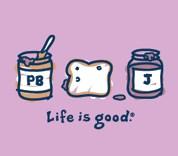 "Life is Good ""Peanut Butter & Jelly"" (PBJ) Short Sleeve Tee (Raspberry)"