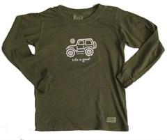 "Life is Good ® Youth/Kid's ""Native Jeep"" Long Sleeve Tee (Dark Green)"