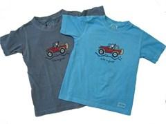 """Life is Good """"Offroad Jeep"""" Kid's Short Sleeve Tee - Shadow Blue"""