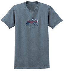 """CLOSEOUT (MD Only) - Life is Good """"Jake Wave"""" Jeep Short Sleeve T-Shirt (Blue/Men's)"""
