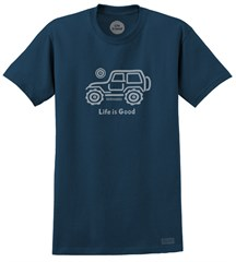 "Life is Good ""Native Offroad"" Men's Short Sleeve Tee on Darkest Blue"