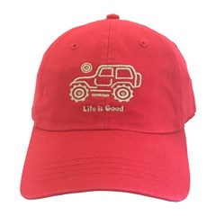 Life is Good Native Offroad Chill Cap - White Jeep on Red Hat