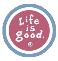 """Life is Good Coin Sticker (4"""" Round, Barn Red)"""