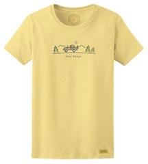 "Closeut - Life is Good ""Free Range"" Women's Sunny Yellow Short Sleeved Shirt"