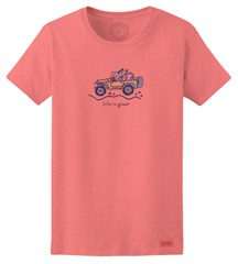 """CLOSEOUT (SM Only) - Life is Good """"Jackie Wave"""" Women's Short Sleeve Shirt in Fresh Pink"""
