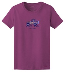 "CLOSEOUT - Life is Good Women's ""Jackie Offroad"" Short Sleeve T-Shirt (Violet)"