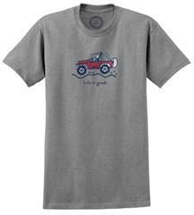 """CLOSEOUT - Life is Good """"Jake Offroad"""" Short Sleeve T-Shirt (Heather Gray)"""