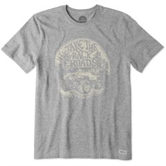 """Life is Good """"Take the Back Roads"""" Men's Crusher Tee in Heather Gray"""