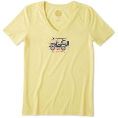 """Life is Good """"Open Door Policy"""" Women's V-Neck Tee in Happy Yellow"""