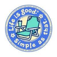 """Life is Good Round 4"""" Sticker - Beach Chair"""