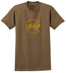 """CLOSEOUT - Life is Good """"Stamped Off Road"""" Men's Tee on Dark Brown"""