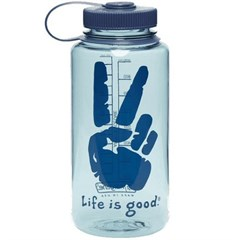 Life is Good Peace Wave Water Bottle - Surfer Blue