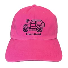 Life is Good Chill Cap - Black Jeep on Pink Hat