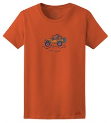 """CLOSEOUT - Life is Good Womens """"Jackie Offroad"""" Short Sleeve T-Shirt (Chili Red)"""
