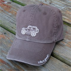 """Life is Good Chill Cap - White Ride on """"Chocolate Brown"""" Hat"""