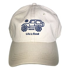 "Life is Good Chill Cap - Native Jeep on ""Bone"" Hat with Blue Jeep"