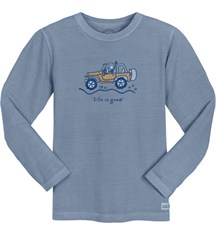 """CLOSEOUT (XL) Life is Good Men's """"Jake Offroad"""" Long Sleeve Shirt in Shadow Blue"""