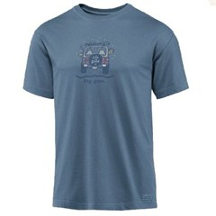"CLOSEOUT - Life is Good ""Dog Gone Skiing"" Short Sleeve Shirt in Shadow Blue"