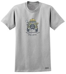 """CLOSEOUT - Life is Good """"Dog Gone Canoe"""" Men's Short Sleeve Jeep Tee (Light Gray)"""
