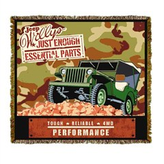 """Jeep Willys Army Throw Blanket """"Just enough essential parts"""""""