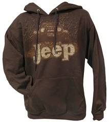 """Mudbogging Jeep"" Men's Fleece Hooded Sweatshirt, Brown"