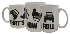 """That's How I Roll"" Black and White Mug"