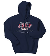 Navy Authentic Jeep Sweatshirt: (Hooded)