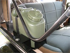 Jeep Water Can Holder with Green Can and Buckle Straps