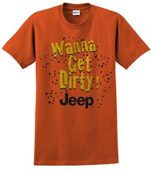 """Closeout (MD only) """"Wanna Get Dirty"""" Jeep Men's Short Sleeve Shirt in Texas Orange"""