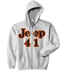 "Gray ""Jeep 41"" Zippered Sweatshirt"